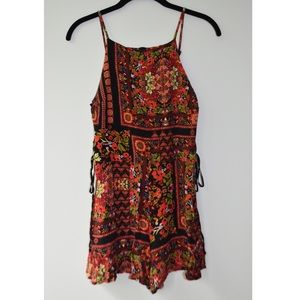 Topshop Floral Romper with Lace Up Sides